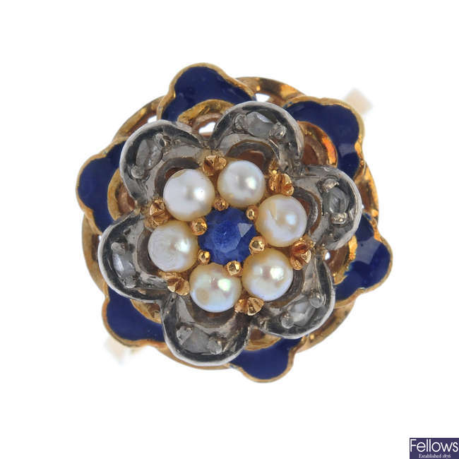 A sapphire, diamond, seed pearl and enamel floral ring.