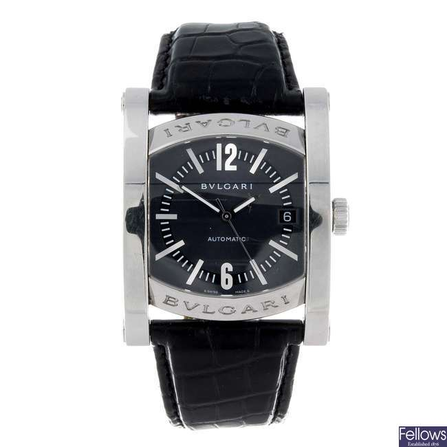 BULGARI - a gentleman's stainless steel Assioma wrist watch.