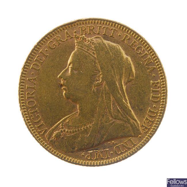 Victoria, Sovereign 1893, old head.