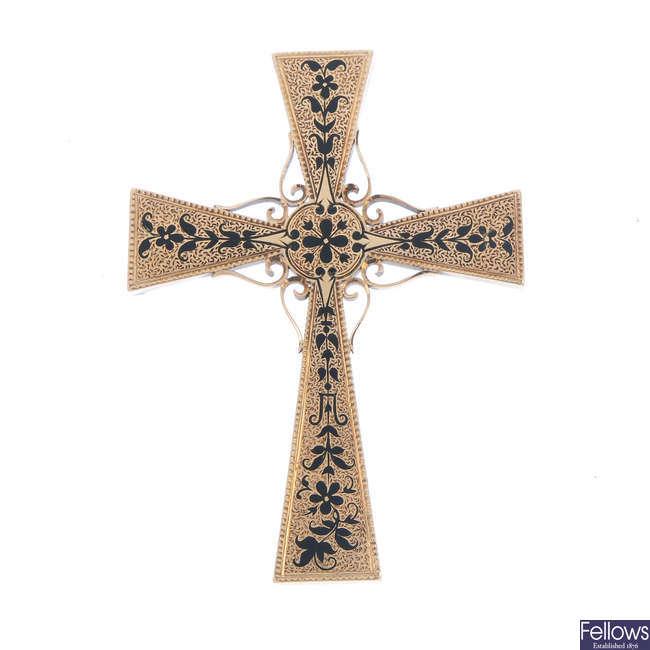 A late 19th century 15ct gold enamel cross pendant/brooch.