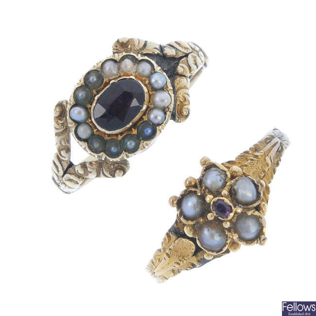 Two mid 19th century 9ct gold gem-set rings.
