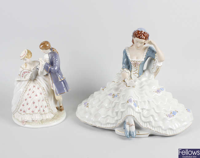 A group of porcelain figures