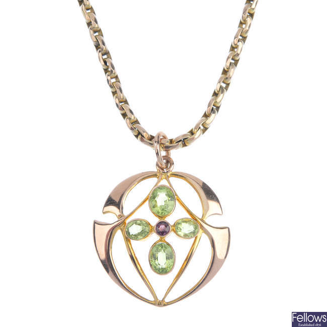 An early 20th century gem-set pendant.