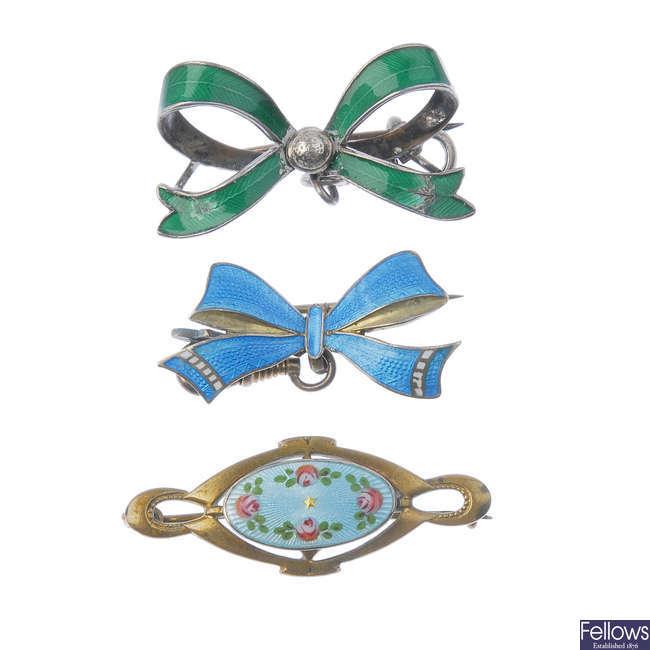 A selection of enamel jewellery.