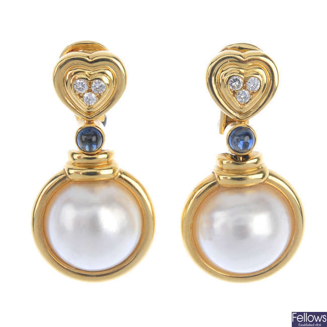 A pair of 18ct gold mabe pearl, diamond and sapphire ear pendants.