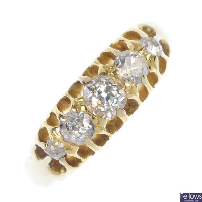 An early 20th century 18ct gold diamond five-stone ring.