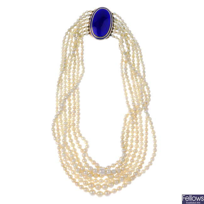 A cultured pearl multi-strand necklace, with late 19th century gold enamel clasp.