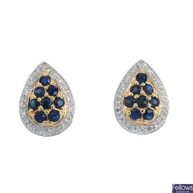 A pair of 9ct gold sapphire and diamond cluster ear studs.