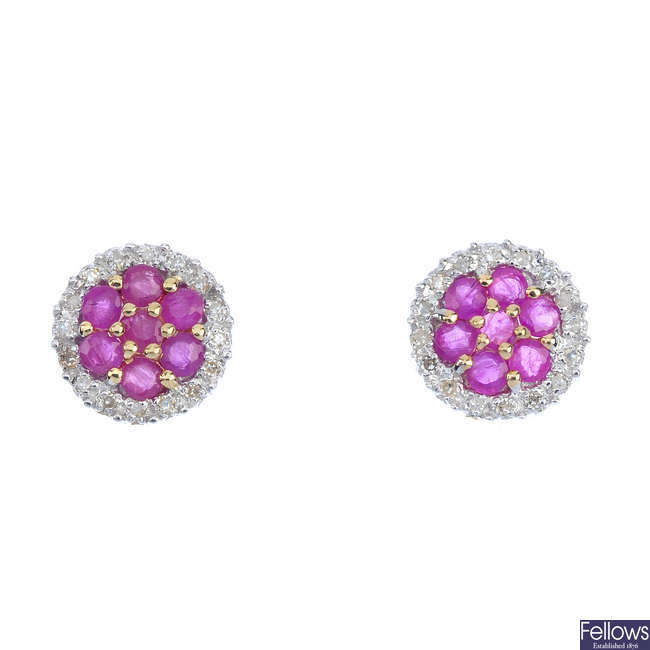 A pair of 9ct gold ruby cluster ear studs