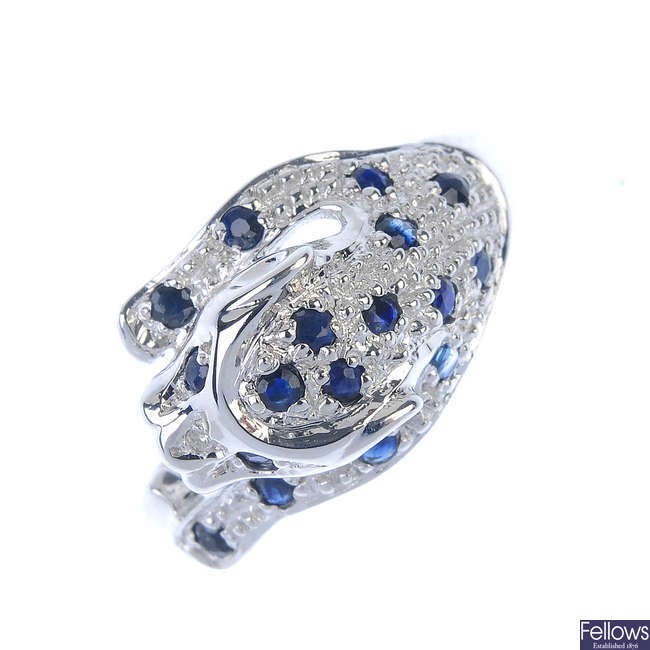 A 9ct gold sapphire and diamond leopard ring.