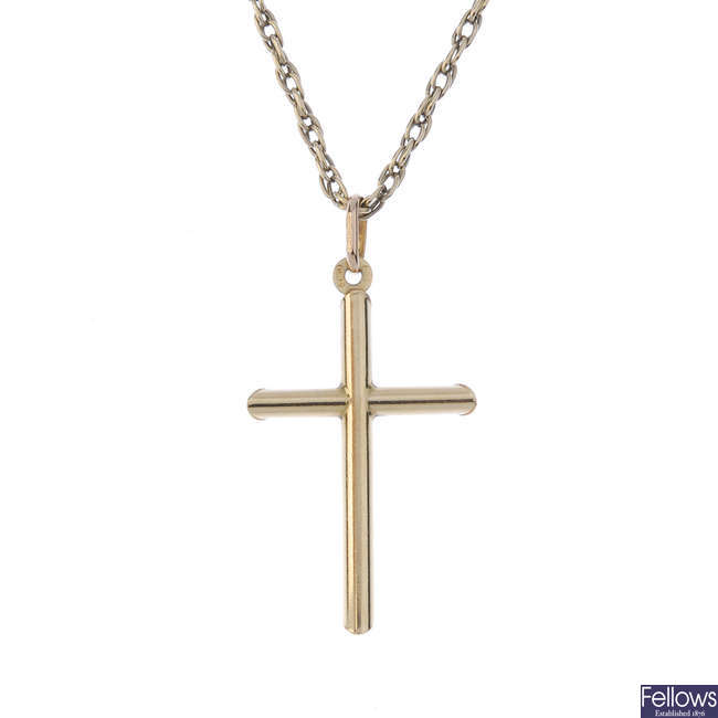 A cross pendant and chain.