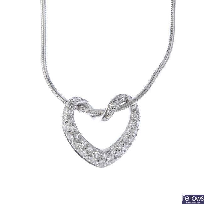MAPPIN & WEBB - an 18ct gold diamond heart pendant.
