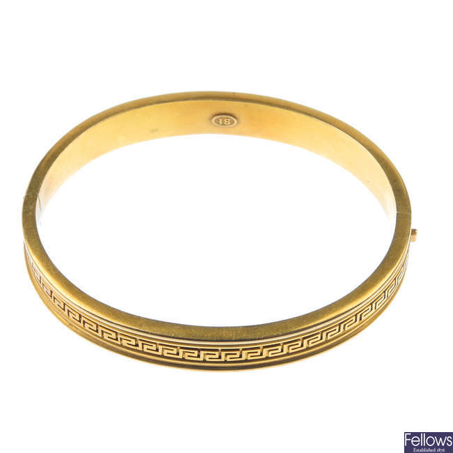 A late 19th century hinged bangle, circa 1860.