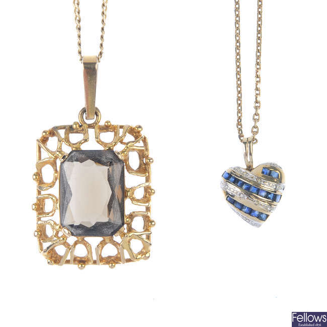 Two gem-set pendants and chains.