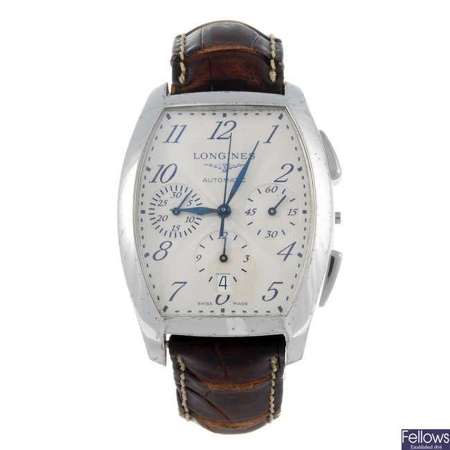 LONGINES - a gentleman's stainless steel Evidenze chronograph wrist watch.