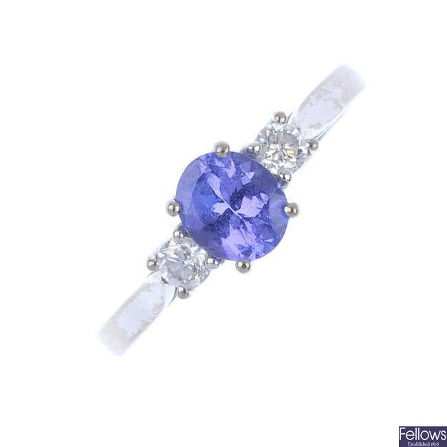 An 18ct gold tanzanite and diamond ring.