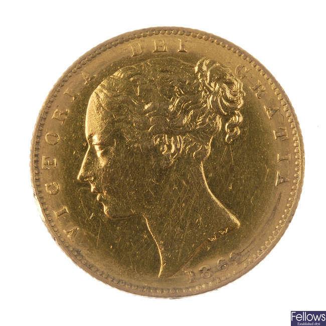 Victoria, Sovereign 1869, rev. shield, die 47.