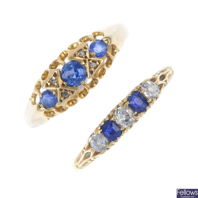 Two early 20th century 18ct gold sapphire and diamond rings.