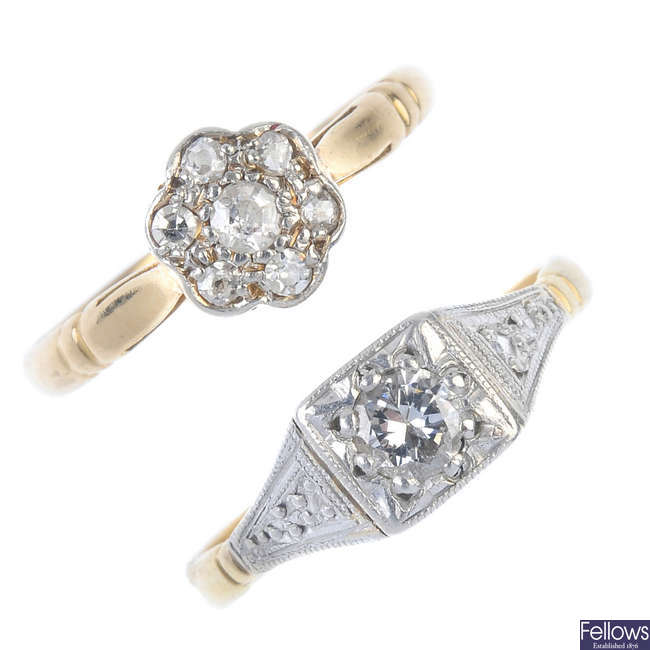 Two early 20th century 18ct gold diamond rings.