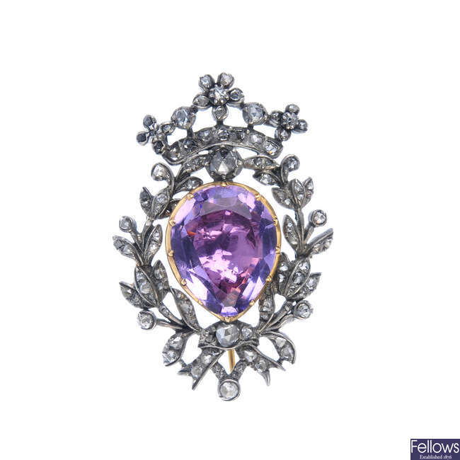 A mid 19th century silver and gold foil-back amethyst and diamond brooch.