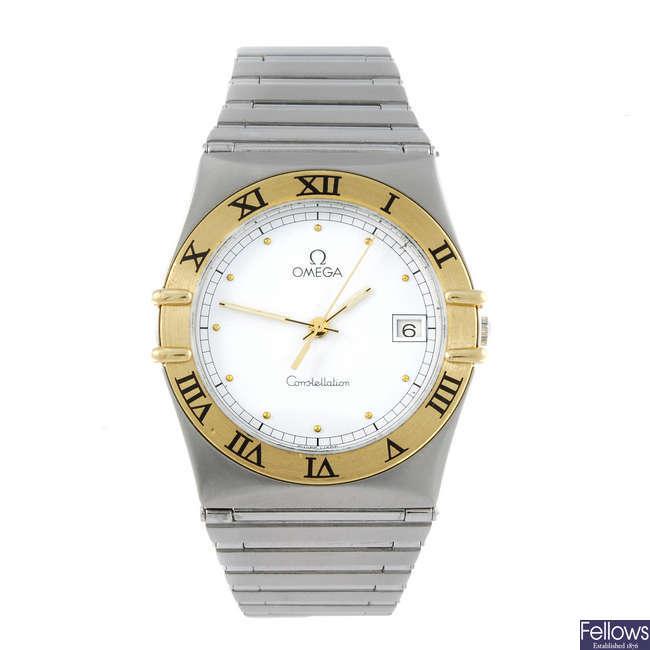 OMEGA - a gentleman's bi-metal Constellation bracelet watch.