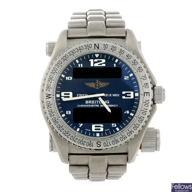BREITLING - a gentleman's titanium Emergency bracelet watch.
