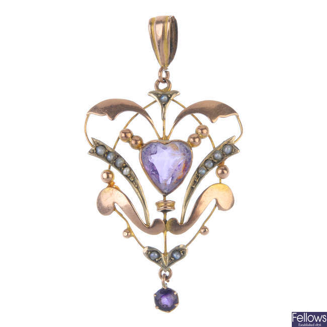 A pair of synthetic sapphire ear studs and an early 20th century gem-set pendant.