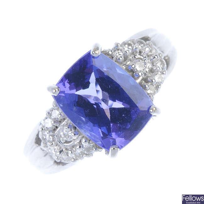 An 18ct gold tanzanite and diamond dress ring.