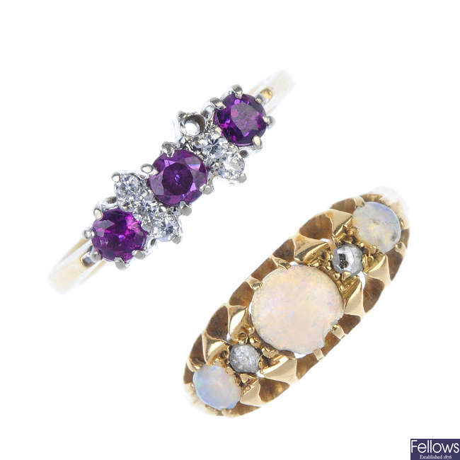 Two 18ct gold diamond and gem-set dress rings.