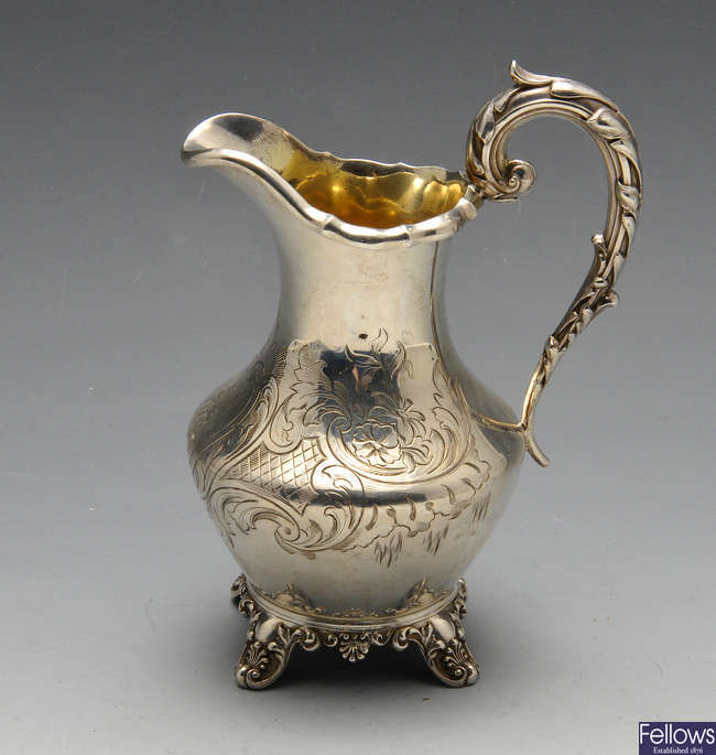 An early Victorian silver cream jug.