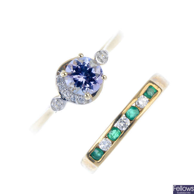 Two 9ct gold gem-set and diamond rings.