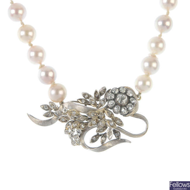 A cultured pearl and diamond necklace.