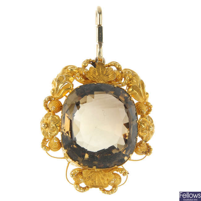 A late 19th century gold citrine pendant.