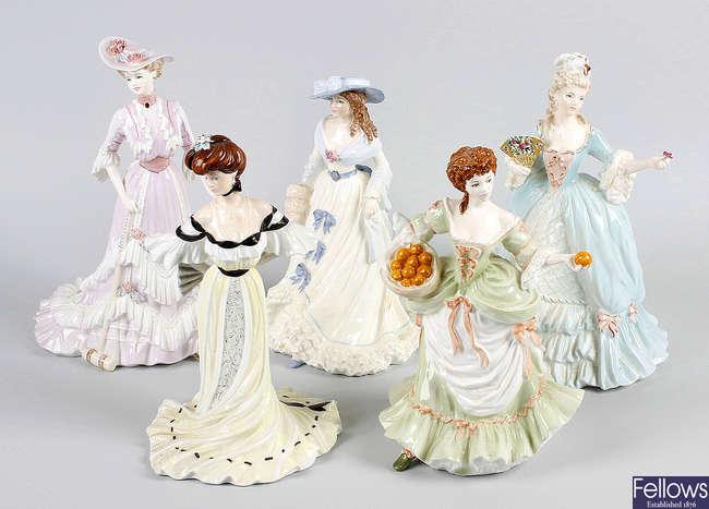 Seven Coalport figurines