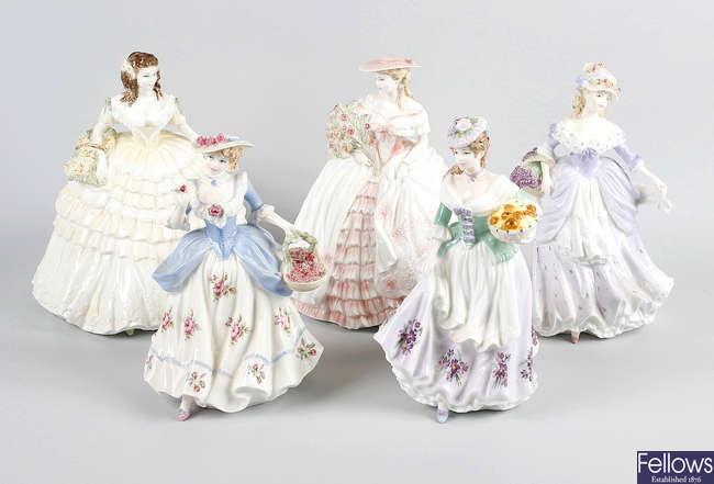 Nine Coalport figurines
