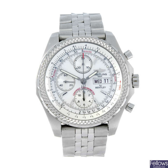 BREITLING - a gentleman's stainless steel Breitling for Bentley GT chronograph watch.