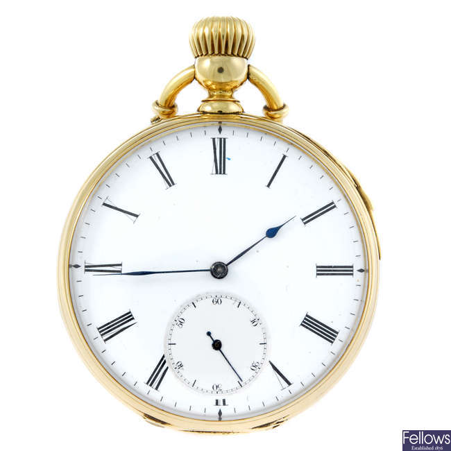 (198909) A yellow metal open face quarter repeater pocket watch.