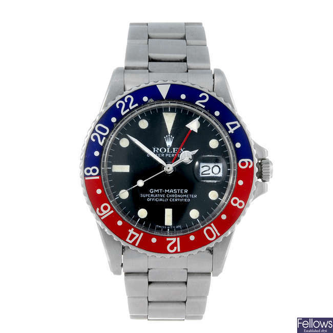(198909) ROLEX - a gentleman's stainless steel Oyster Perpetual Date GMT-Master bracelet watch.