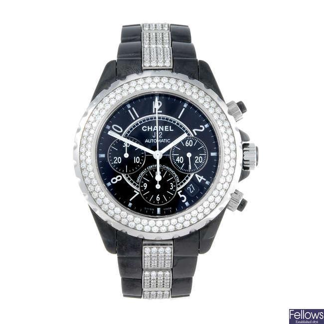 (199063) CHANEL - a lady's bi-material J12 chronograph bracelet watch.