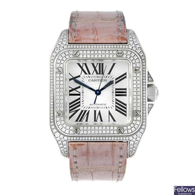 (199063) CARTIER - an 18ct white gold Santos 100 wrist watch.