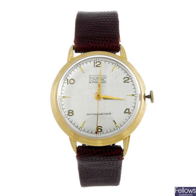 PONTIAC - a gentleman's yellow metal wrist watch.
