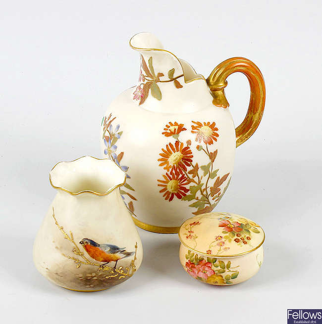 A group of Royal Worcester blush ivory porcelain