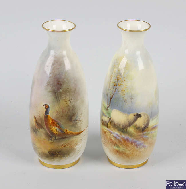 Two Royal Worcester hand painted vases