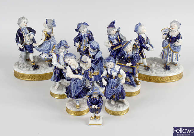 A large group of German porcelain figurines