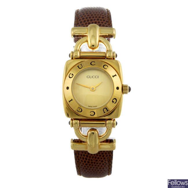 GUCCI - a lady's gold plated 6300L wrist watch.