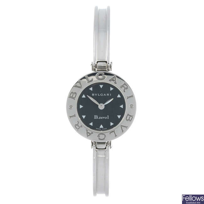 BULGARI - a lady's stainless steel B.zero1 bangle watch.