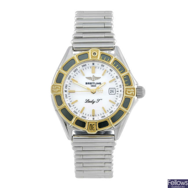 BREITLING - a lady's bi-metal J-Class bracelet watch.