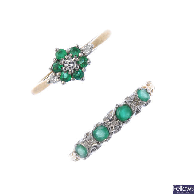 Two 9ct gold emerald and diamond rings.