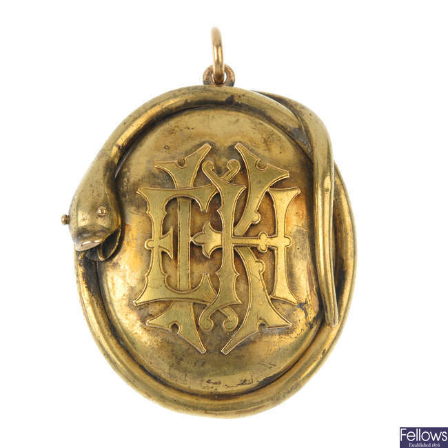 A late Victorian gold snake memorial locket.