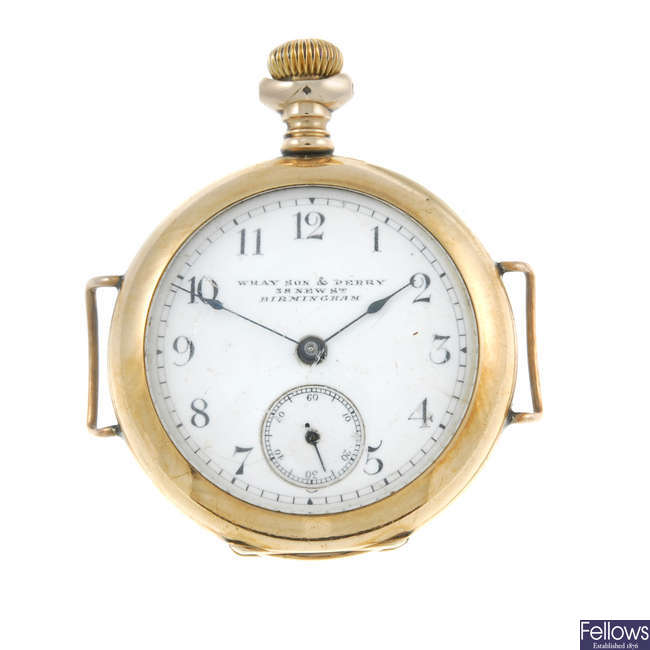 A 9ct yellow gold converted wrist watch by Wray Son & Perry.